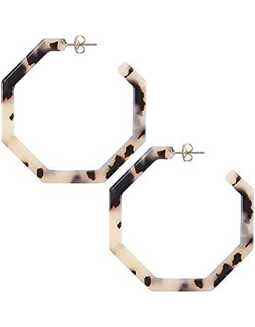 c1fde5c44794 WOWSHOW Fashion Geometric Octagon Hexagon Hoop Earrings for Women Girls