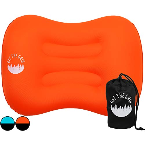Off the Grid Inflatable Camping Pillow for Ultralight Backpacking – Pillow for Travel & Sleeping with Ergonomic…