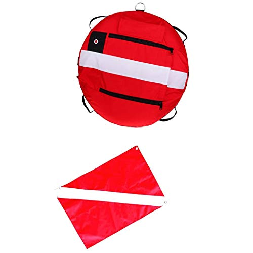 Prettyia Freediving Freediver Training Buoy Instructor Safety Float + Scuba Diver Down Flag Signal Banner - Red (Float Safety Marker)
