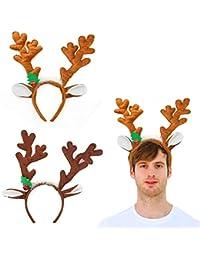 Reindeer Antlers Headband, 2PCS Deer Antlers Headband with Bells Cute Christmas Reindeer Ears Headband