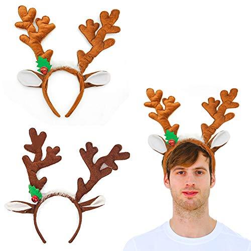 Kids Reindeer Antlers (HansGo Reindeer Antlers Headband, 2PCS Deer Antlers Headband with Bells Cute Christmas Reindeer Ears)