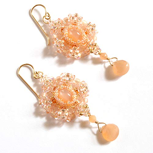 - Cat's Eye Peach Moonstone Earrings Artisan Crafted in 14K Gold Filled; One of a Kind