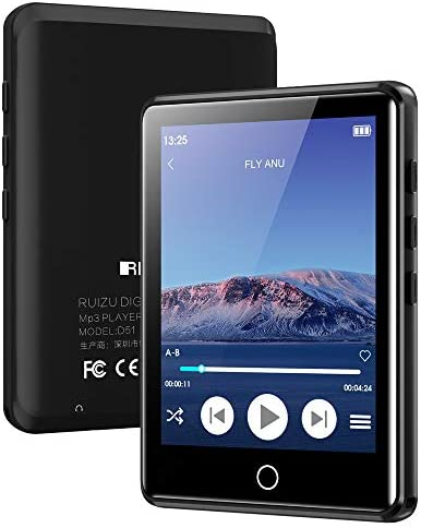 """MP3 Player with Bluetooth 5.0, 2.8"""" Full Touchscreen 16GB Mp3 Player, HiFi Lossless Sound Music Player with Headphones, Built-in Speaker, FM Radio, Voice Recorder, E-Book, Expandable as much as 128GB"""