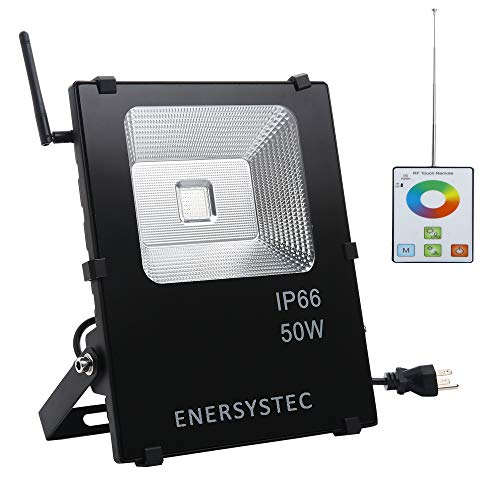 50W RGB LED Flood Light 300ft RF Remote Memory Synchronous Colorful Bulb Colors Modes Dimmable Waterproof Landscape Wall Lights, Colored Floodlight for Garden Yard Pool Party Stage Lights (Lighting Outdoor Est)