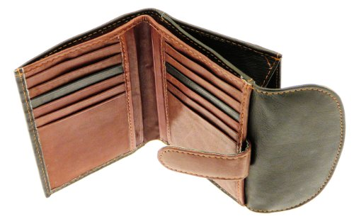 Signore bianco e marrone in pelle morbida compatta carta di credito supporto / raccoglitore / borsa con portamonete / sezione - contiene 12 carte di credito