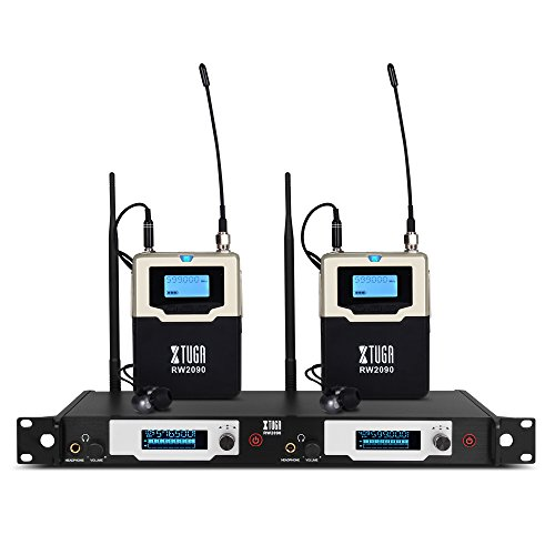 XTUGA RW2090 Double Channel Wireless in-Ear Monitor System Metal Receiver with Detachable Antenna Used for Stage or Studio (2 RECEIVERS)