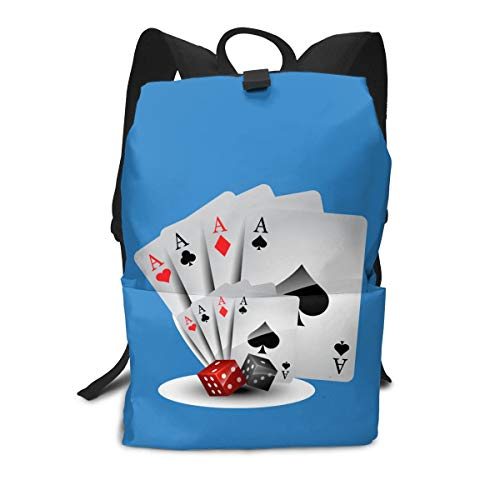 (Travel Backpack Business Daypack School Bag Poker Print Large Compartment College Computer Bag Casual Rucksack For Women Men Hiking Camping Outdoor)