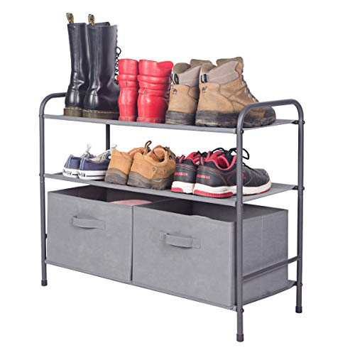 (MAX Houser 3-Tiers Shoe Rack with 2 Removeable Storage Bins Closet Shoe Storage Cabinet Organizer, Multi-Purpose Closet Organization,Grey)