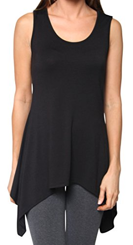 Free to Live Long Flowy Shark Bite Asymmetrical Hem Tank Top Tunic Made in USA (Medium, Black)