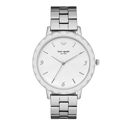 kate spade new york Women's Scallop Quartz Watch with Stainless-Steel Strap, Silver, 16 (Model: KSW1493)