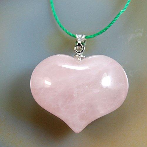 AD Beads Natural Heart Pendant Necklace Gemstone Reiki Chakra Healing Bead 20x25mm (Rose Quartz)