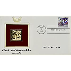 1989 Nov 19 PCS Classic Mail Transportation: Automobile First Day Issue :25 Cent Stamp 22kt Gold Replica Rare Collectible