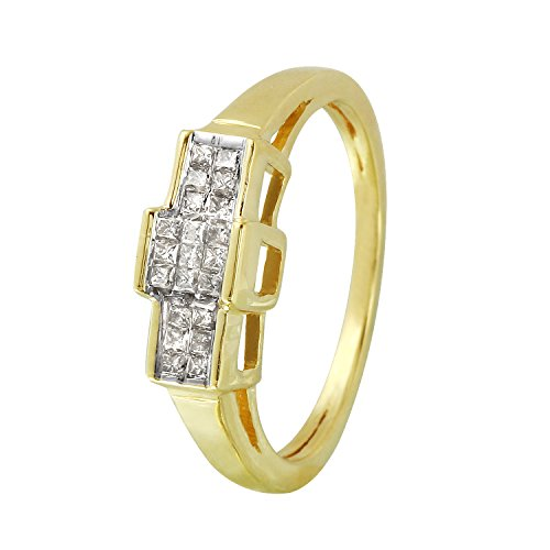 0.25 Carat Natural Diamond 14K Yellow Gold Engagement Ring for Women Size (0.25 Ct Invisible Setting)