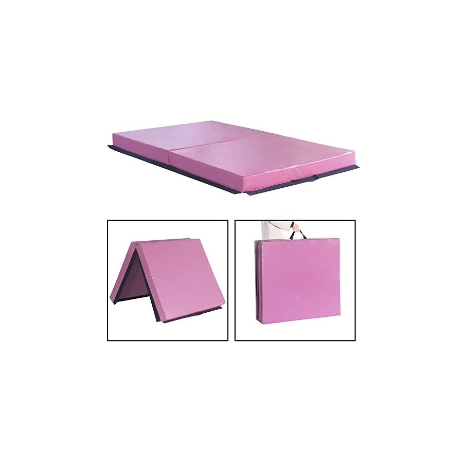 Sportmad 6'x3.2'x4.5 Gymnastics Mat Thick Folding Panel Tumbling Mats for Home Gym Fitness Workout Exercise, Pink