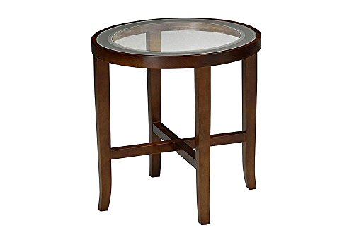 "Illusion End Table Glass Top/Bourbon Cherry Finish Dimensions: 22""H x 22"" Diameter Weight: 50 lbs."