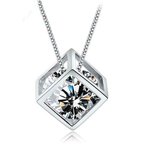 Leyeet Fashion Sterling Silver Cube Crystal Rhinestone Necklace Pendant
