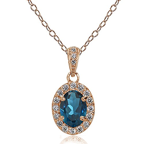 Ice Gems Rose Gold Flashed Sterling Silver London Blue and White Topaz Oval Halo Necklace