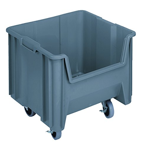 Quantum Storage Systems QGH805MOBGY Mobile Multi-Purpose Giant Stacking Open Hopper Container with Swivel Casters, 17-1/2 x 16-1/2 x 12-1/2, Grey (Pack of 2) by Quantum Storage Systems
