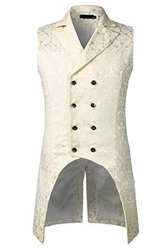 Keppler Mens Gothic Steampunk Vest Slim Fit Tailcoat Jacquard Brocade Double Breasted Waistcoat Sleeveless White ()