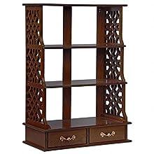 Design Toscano Chinese Chippendale-Style Triple Shelf Hardwood Curio, 33 Inch, walnut Finish