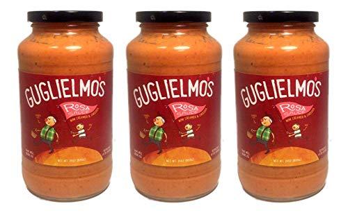 Guglielmo's Rosa Creamy Pasta Sauce (3) 24 oz Jars, Pink Blush Blend of Alfredo (Cream, Parmesan Cheese, Garlic) and Marinara (Fresh Tomatoes, Peppers, Basil, Onion) (Alfredo Sauce With Milk And Parmesan Cheese)
