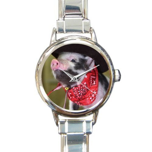 New Arrival!Personalzied Gifts Cute Piglet Wearing Hat And Scarf Round Italian Charm Watch