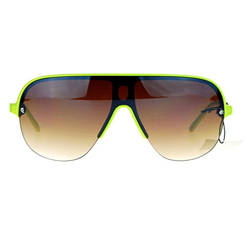 SA106 Half Rim Speed Racer Plastic Aviator Sunglasses - Guy Sunglasses