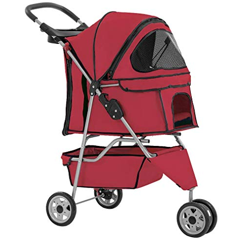 New Red Pet Stroller Cat Dog Cage 3 Wheels Stroller Travel Folding Carrier T13 (Renewed)