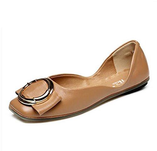 Zapatos de Mujer, Comfort Square Flats, Bombas, Zapatos de Mujer, Pisos con Planos B
