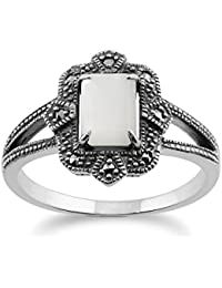 Art Deco Ring, 925 Sterling Silver Art Deco 1ct Mother of Pearl & Marcasite Ring