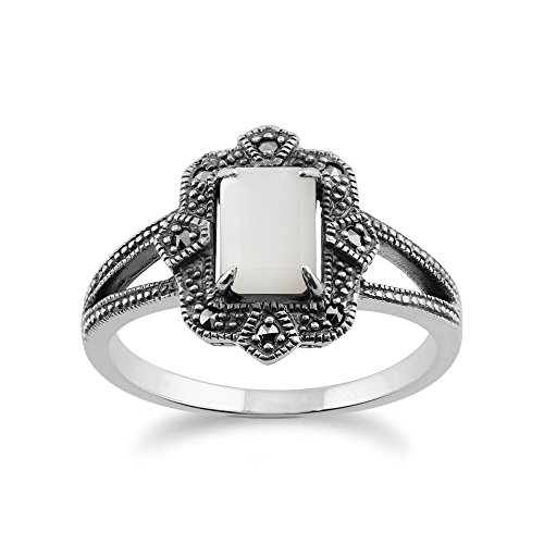Gemondo Art Deco Ring, 925 Sterling Silver Art Deco 1ct Mother of Pearl & Marcasite Ring