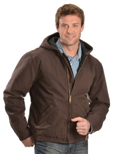 Carhartt Men's Washed Duck Hooded Jacket Brown XX-Large Carhartt Duck Hooded Jacket
