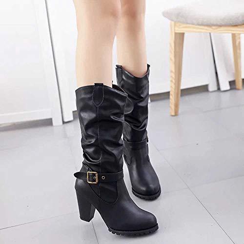 De Classiques Bottines Loisirs Sneakers Chaussure Zezkt Ceinture Bottes Boucles Noir Sport Femme Hautes Basket Montantes Mode Boots Chaussures Hiver n1RAqa
