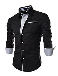 Elonglin Mens Casual Button Down Shirts Long Sleeve Dress Shirts Contrast Color