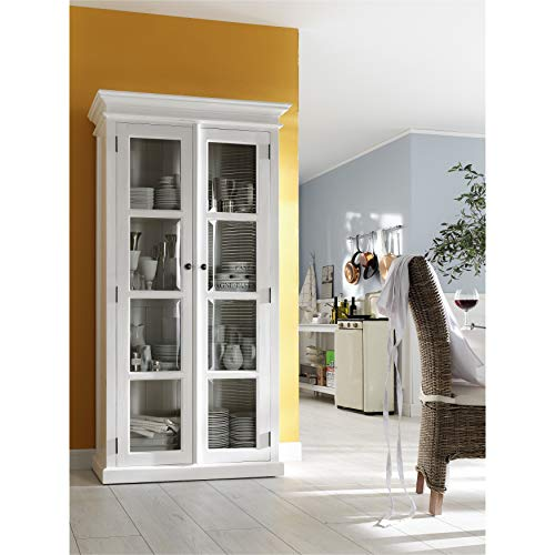 Beadboard Panel Hutch - NovaSolo Halifax Pure White Mahogany Wood Double Display Stand With Glass Doors And 4 Shelves