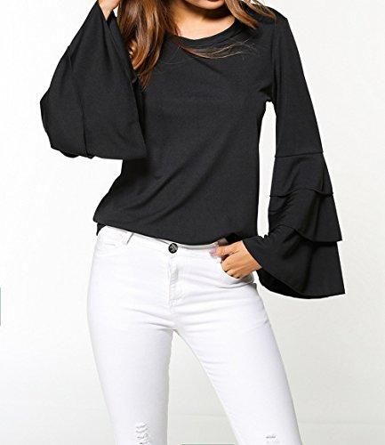 Flare Shirts et T Shirts Sweat Pulls Printemps Blouse Femmes Automne Hauts Tee Chemisiers Unie Col Noir Slim Sleeve Rond Couleur Mode Tops Casual Axw0dxq