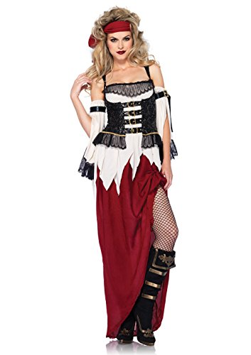 Leg Avenue Women's 3 Piece Buried Treasure Beauty Pirate Costume, Burgundy/Blue, Medium -
