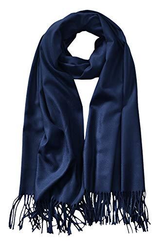 - MBJ Shawls and Wraps Elegant Cashmere Scarfs for Women Stylish Warm Blanket Solid Winter Scarves ONESIZE NAVY