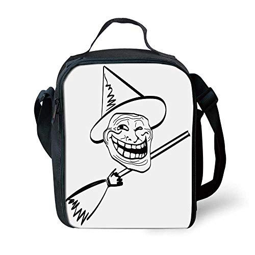 Humor Decor Stylish Lunch Bag,Halloween Spirit Themed Witch Guy Meme Lol Joy Spooky Avatar Artful Image for Children,7.4
