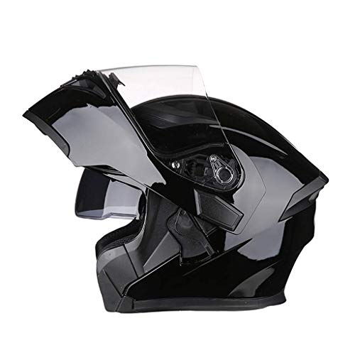 OUTO Deformable Casco Motocicleta Montar al Aire Libre HD Espejo antivaho Casco Integral Hombres y Mujeres Personalidad Cool...