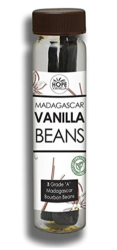 Hope Vanilla - 3 Real Madagascar Bourbon Vanilla Beans - Premium Quality, Exquisite Taste, Amazing Aroma - Packaged in a Glass Vial for Easy Storage and Reuse - Superior to Tahitian or PNG beans