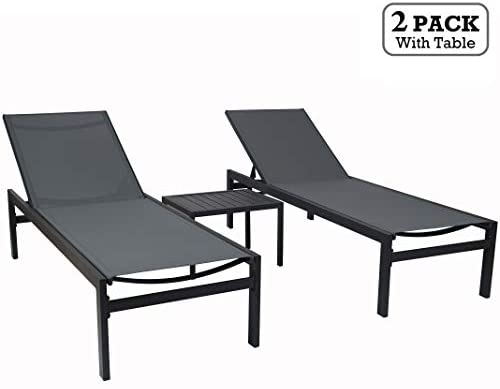 Kozyard Modern Full Flat Alumium Patio Reclinging Adustable Chaise Lounge with Sunbathing Textilence for All Weather, 5 Adjustable Position, Very Light, Anti-Rusty 2 Pack Gray w Table