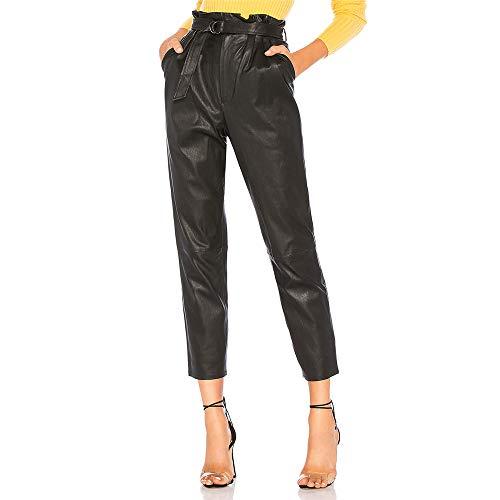 - VERO VIVA Women PU Leather High Waist Casual Pants with Belt Silm Pockets Detail(XXL,Black)