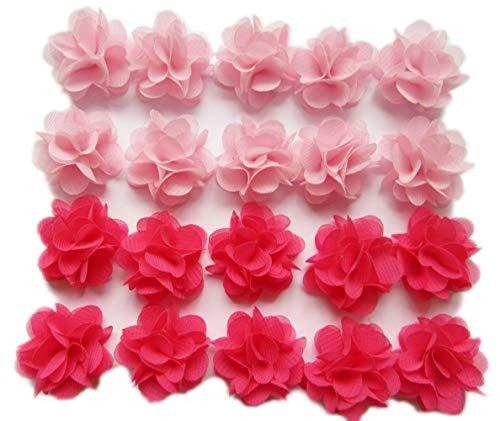 YYCRAFT Pack of 30 Cute Mini Chiffon Flower 1 Hair Flower Headband-Pink/Hot Pink