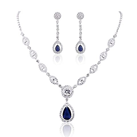 GULICX AAA Cubic Zirconia CZ Silver Plated Base Women's Party Jewelry Set Earrings Pendant Necklace - Cubic Zirconia Pendant Jewelry