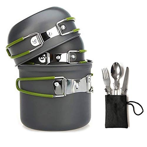 Camping Cookware Kit,4-in-1 Cooking Bowl Pot Pan Set,3-in-1 Knife Spoon Folk Included - Outdoor Equipment Cooking Mess Kit Folding Cooking Set Camping Gear Utensils Non-Stick Camping Mess Kit ()