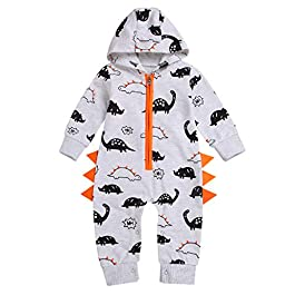 erthome Baby Boy Clothes, 0-24 Months Newborn Baby Boys Girls Dinosaur Zipper Hooded Romper Jumpsuit Outfits Clothes