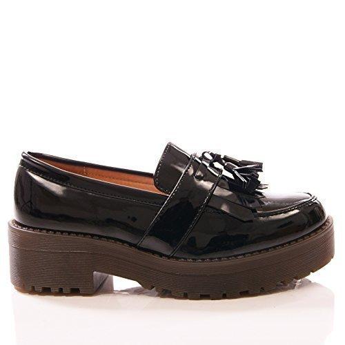 Mocasines de Cuero Calado con Plataforma de Mujer - Detalle de Borla - Negro, Sintético, 41: Amazon.es: Zapatos y complementos
