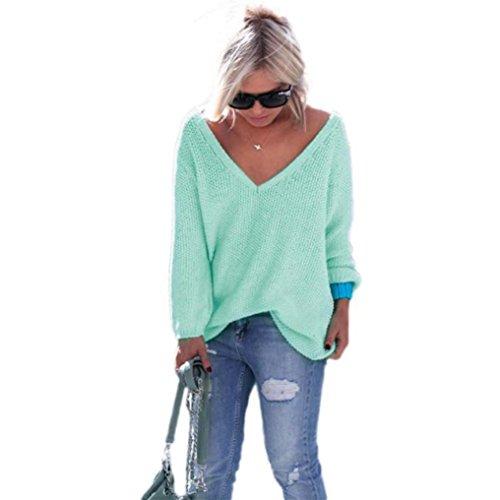 WOCACHI Damen Pullover Frauen Langarm-Strickpullover lose Strickjacke Pullover Sweater Tops Strick (L, Grün)