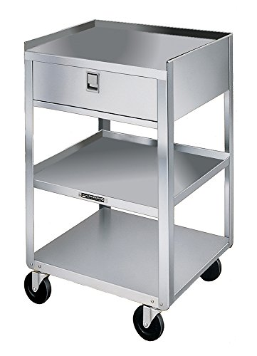 Lakeside 466 Stainless Steel Mobile Equipment Stand, Weight Capacity 500 lb., 3 Shelves, 1 Drawer, 16-3/4